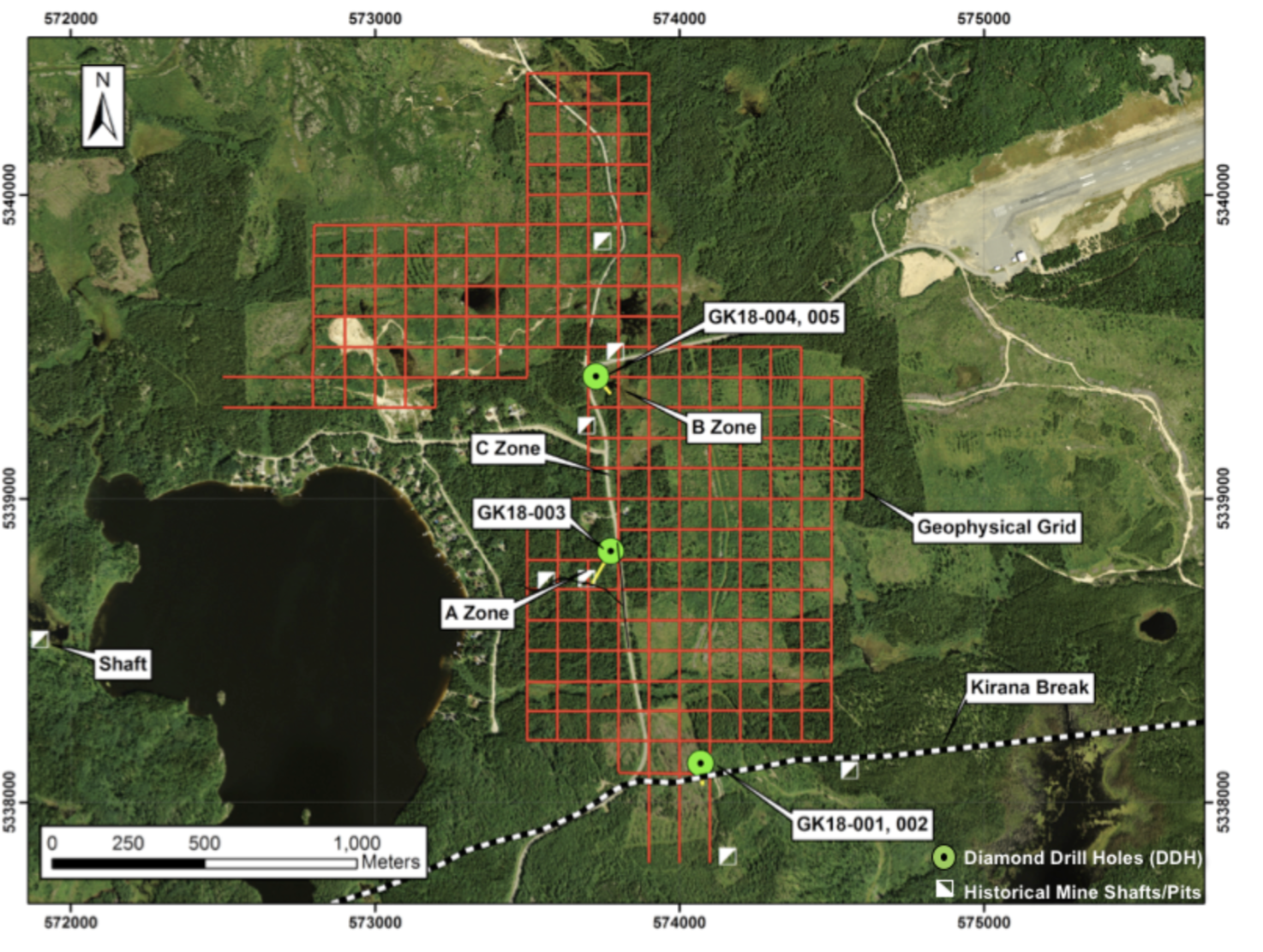 Figure #2 demonstrating geophysical grid location of the Goodfish Patents and diamond drill locations.