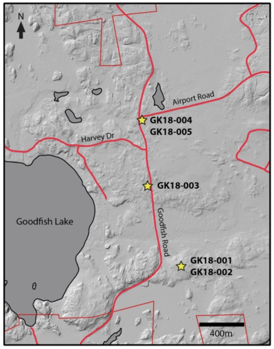 Figure 1. Diamond drill hole location on Goodfish Patents with LiDAR base map.