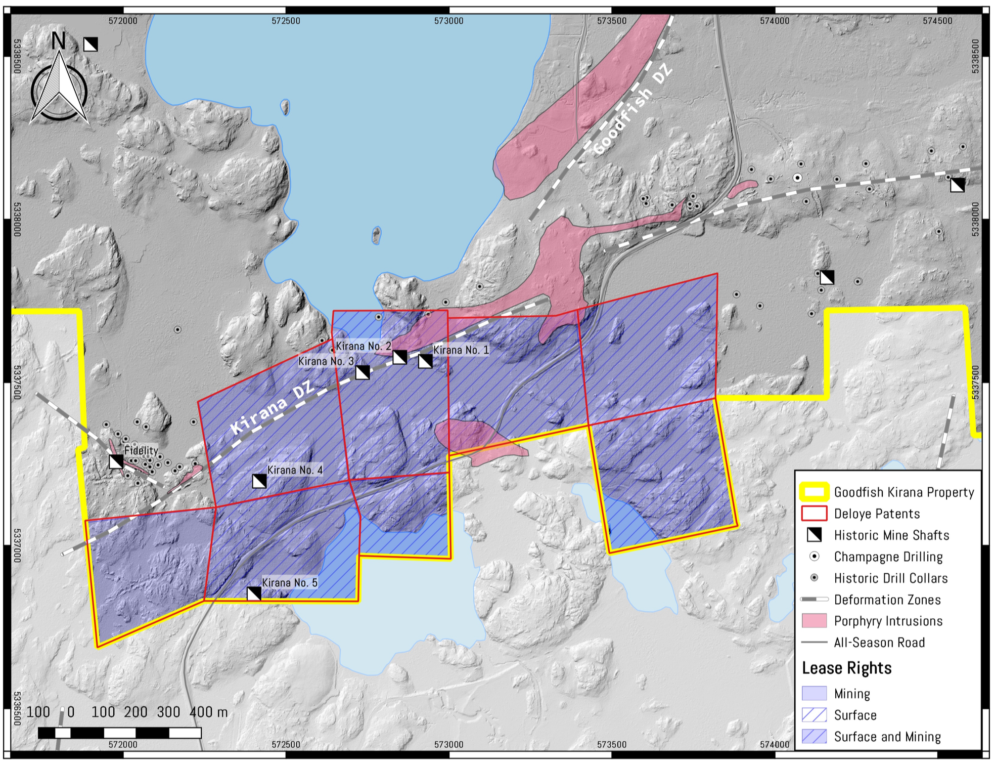 Fig. No. 1 – Location of the Deloye Claims and mine shafts, trenches, and deformations zones, contiguous with the Goodfish Kirana Property.