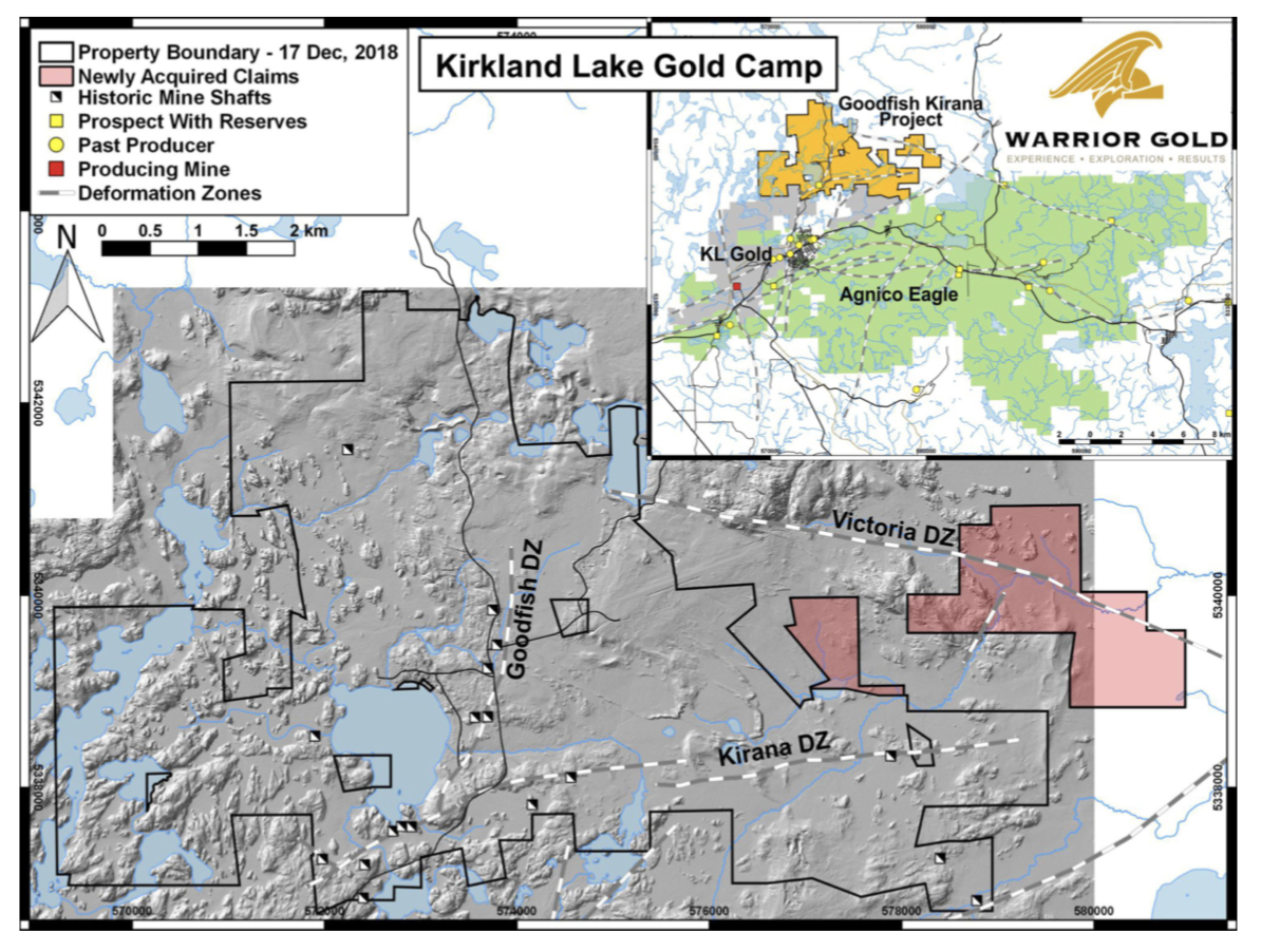 Figure 1. New claims acquired and staked by Warrior Gold Inc.