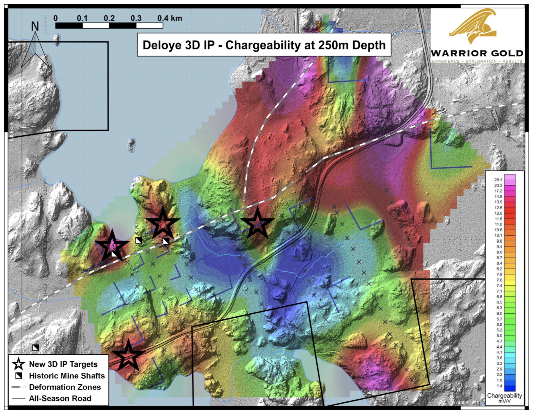 Figure 2. IRIS 3D IP Survey Results – Stars are newly identified target areas