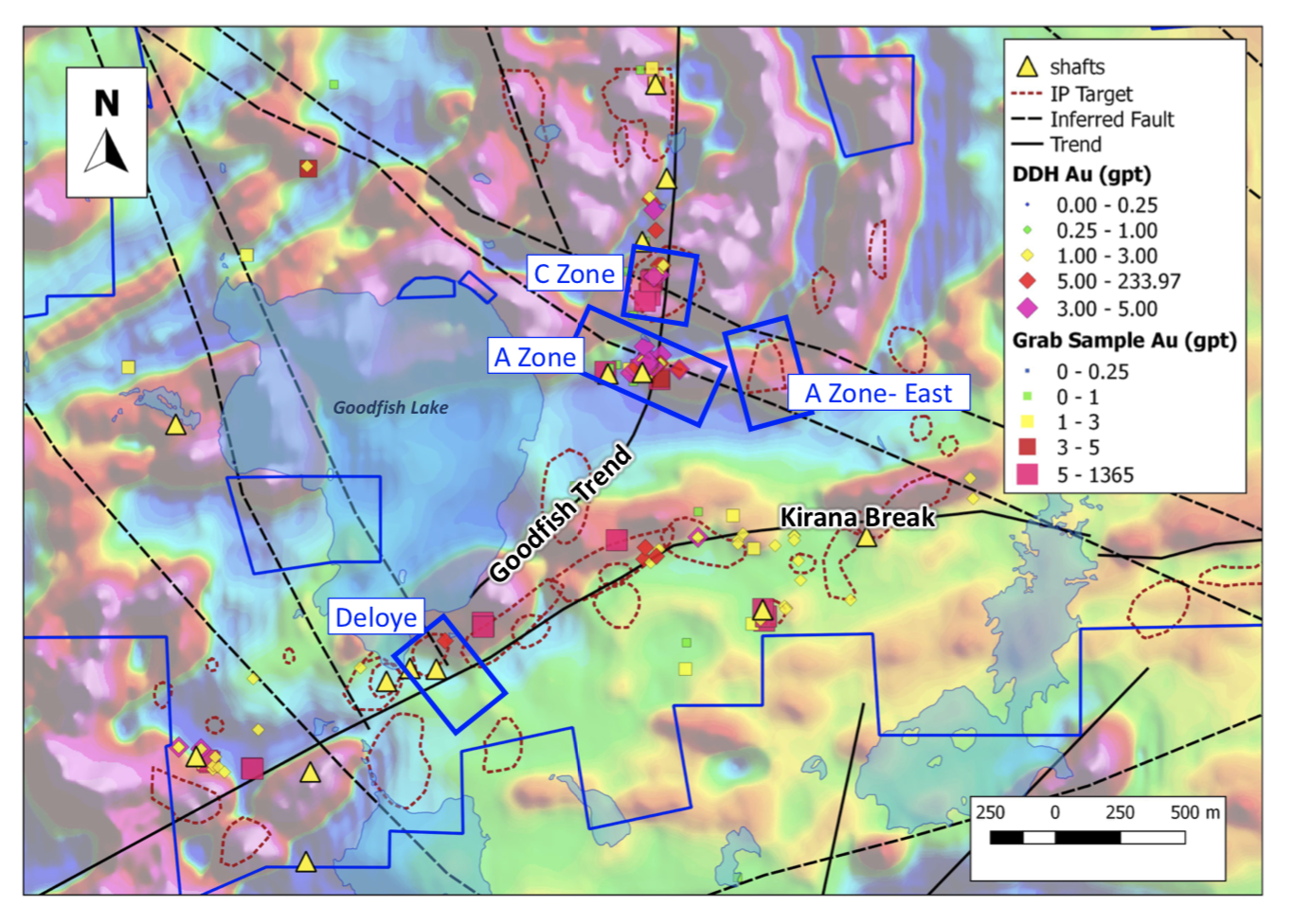 Figure 2:  2019 Drill target areas (overlain on Total Magnetics-1st Vertical Derivative).