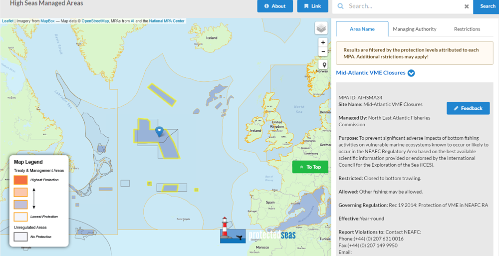 Our map provides information to the user not only about where a marine managed or protected area is located, but also on the purpose of protecting the area, the restrictions that apply, the legal source of those restrictions, and where you can get more information about the area.