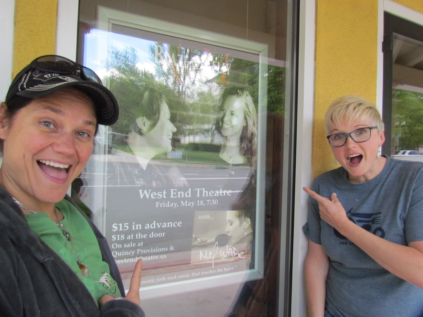 Mel Wade and I being goofy!  Who's that in the marquee?