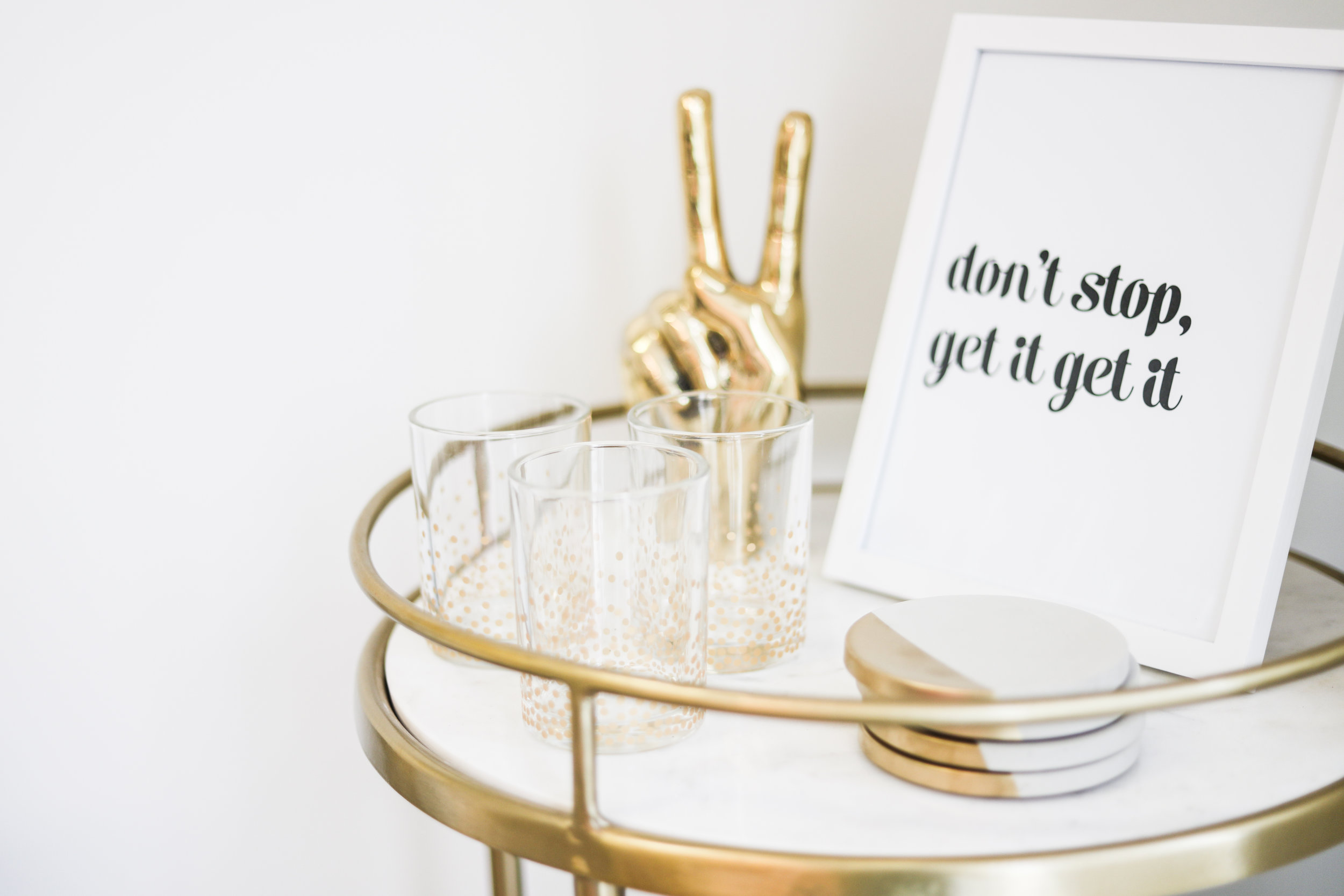 Bar Cart  (similar option  here )  |   Peace Sign   |   Graphic Prints   |   Concrete Coasters