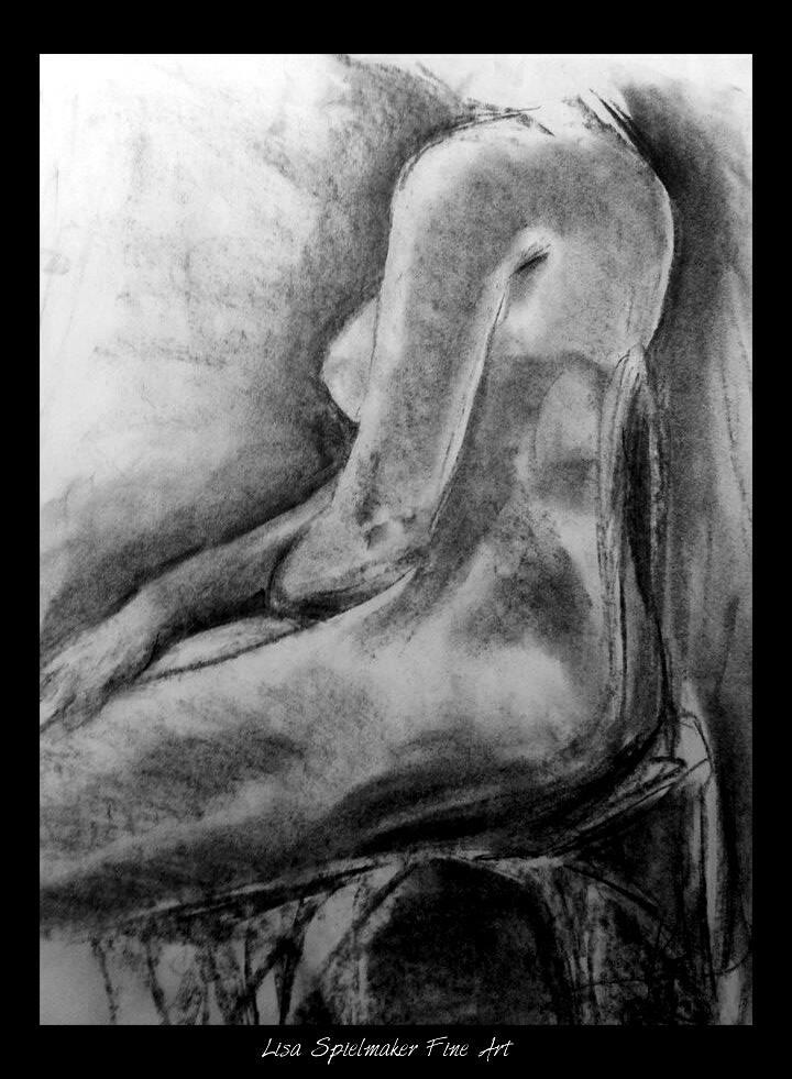 "Life Drawing Study, 18x24"" Soft Charcoal"