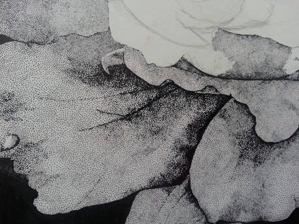 "Pointillism study on board 12x14"""