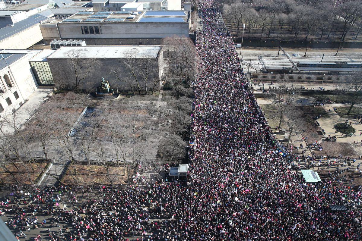 The Chicago Women's March. AP photo/John J. Kim