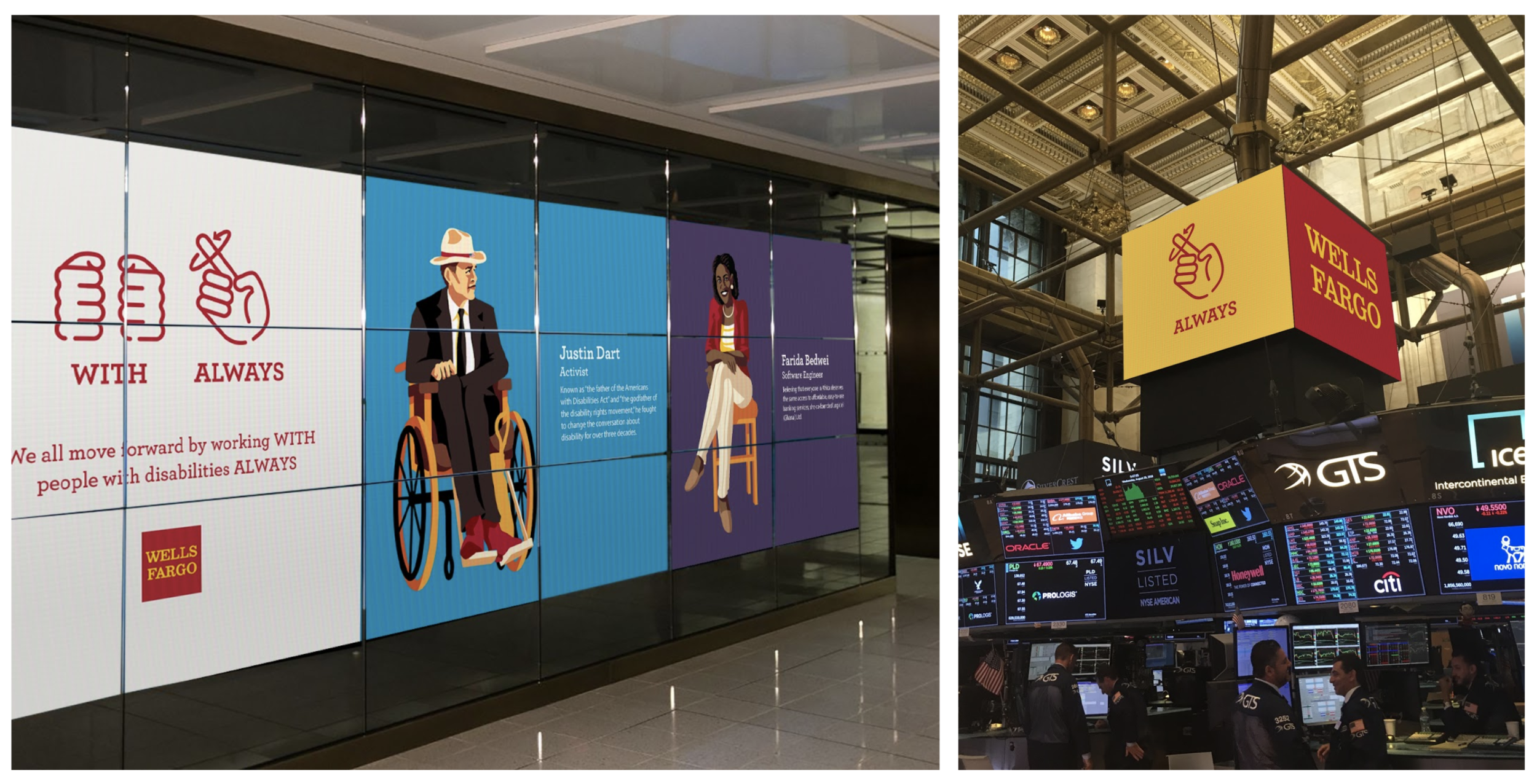 Digital signage at the New York Stock Exchange closing bell, featuring the significant contributions people with disabilities have made to society.