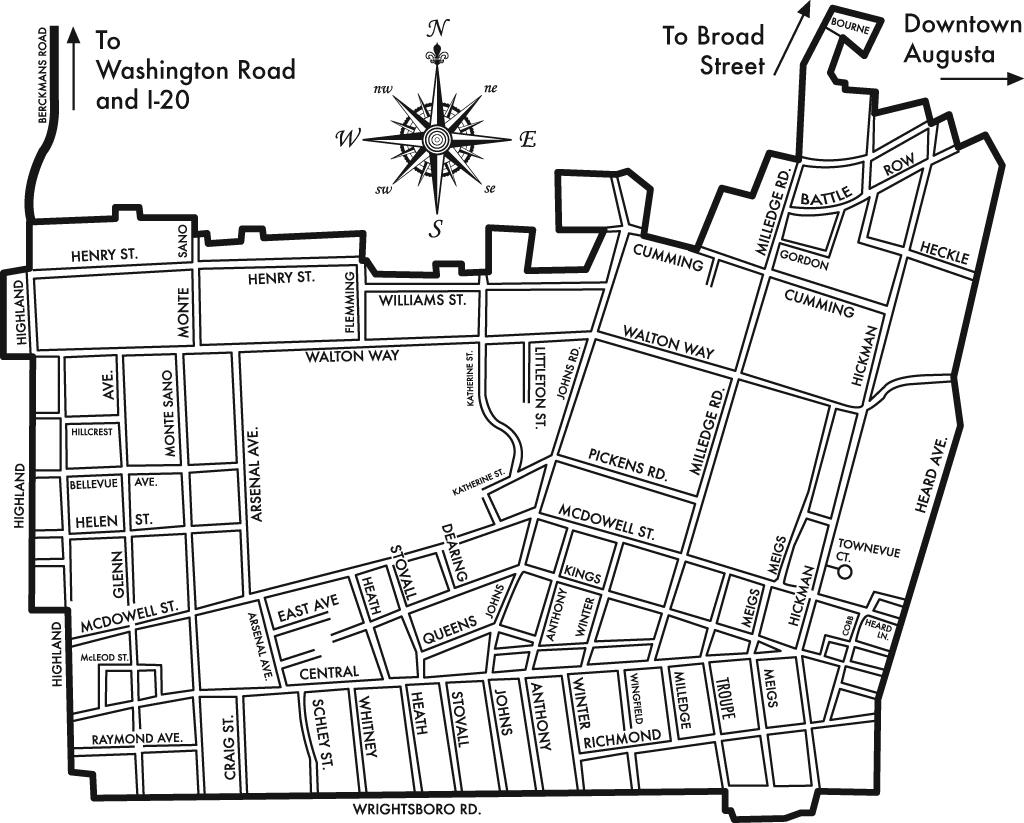 Map of the Summerville boundaries.