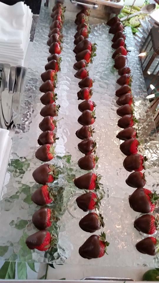 Hand-dipped chocolate strawberries.