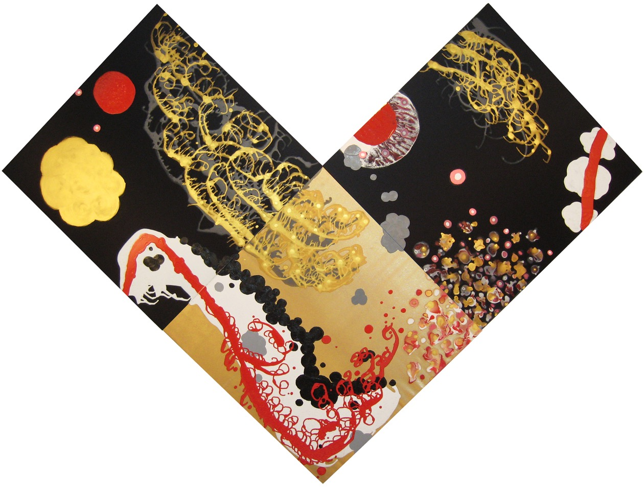 Valences of Ascendancy (triptych)  , 2009, Acrylic on silk and satin, 83.5 x 111.5 in.