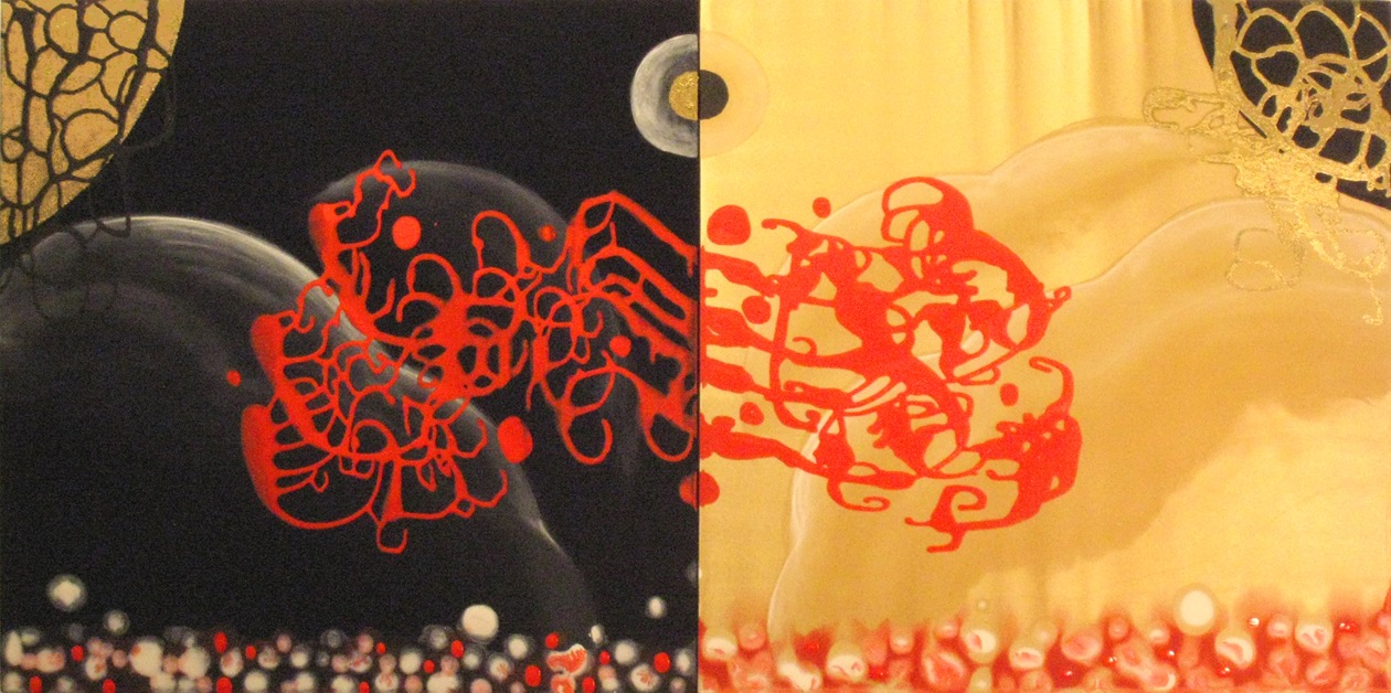 Traversing Duality (diptych)  , 2008, Acrylic and ink on satin, 24 x 48 in.  Private Collection