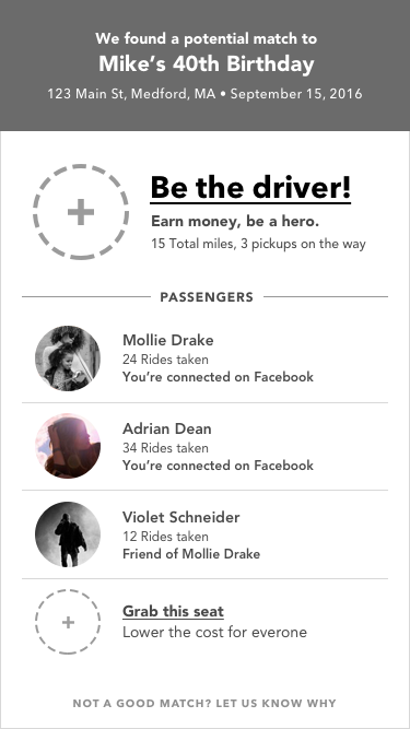 Generative Match Screen   A concept exploring how to promote being the driver.
