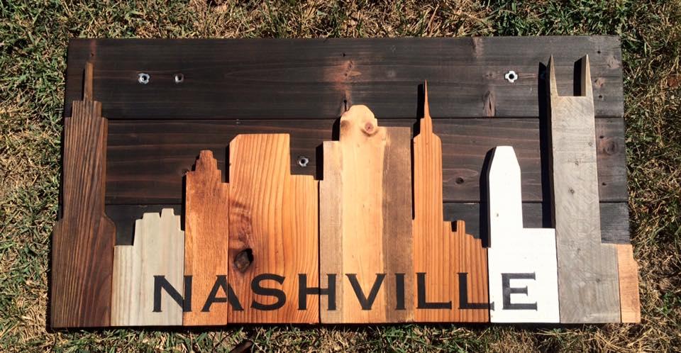 "Evening Nashville Skyline 35""x17"""