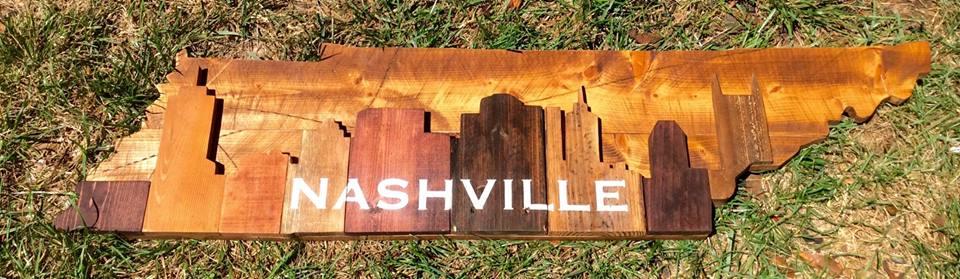 """Nashville Wood Skyline over TN 4 ft x12.5"""""""