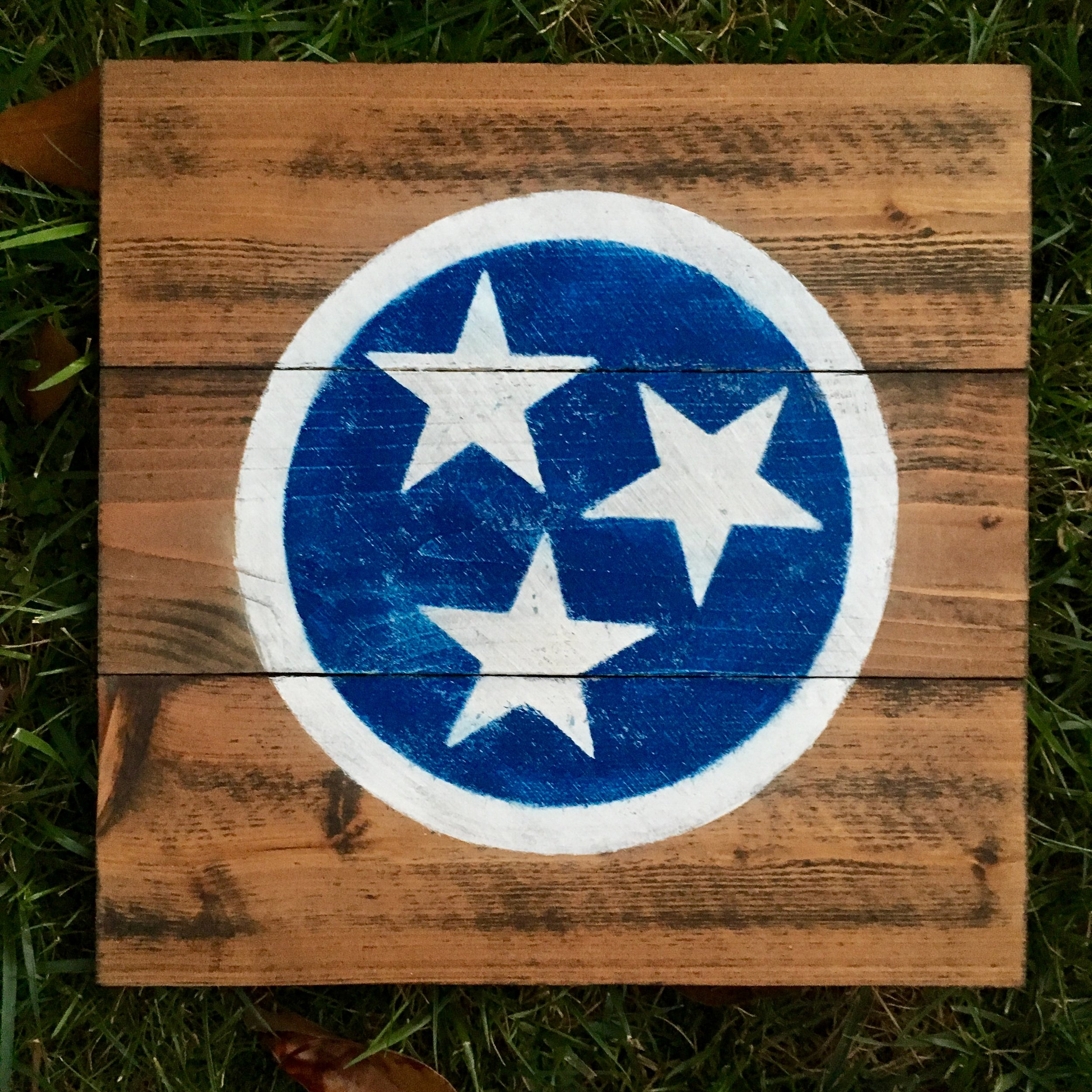 """16"""" Square Wood Background with Tri Star"""