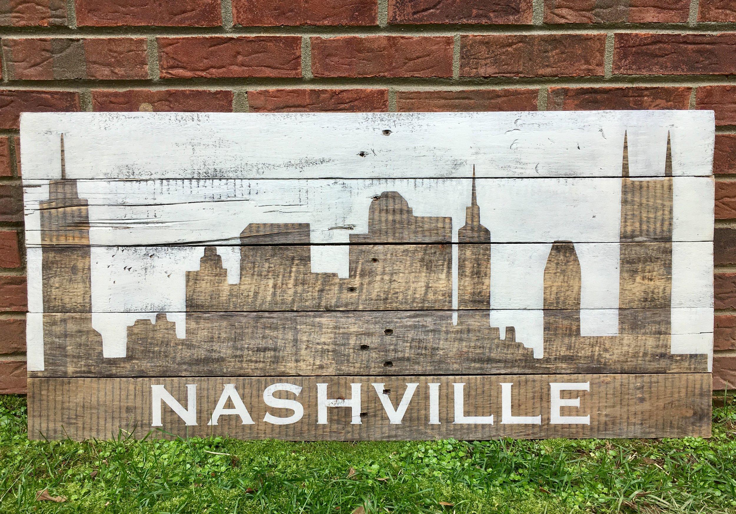 "Nashville Skyline Painted White 35""x17"""