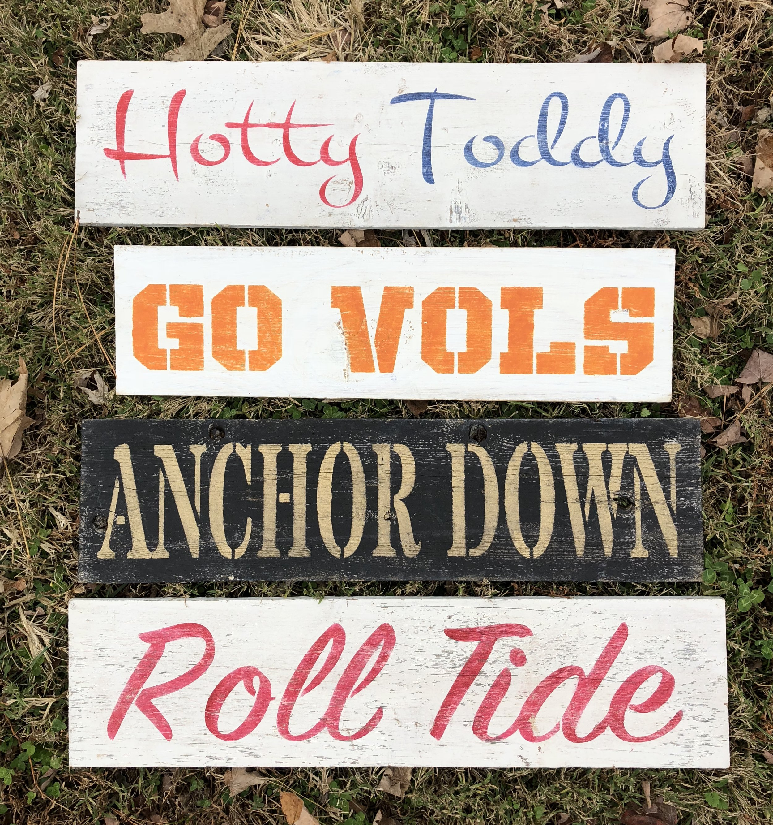 "College Signs- $25 ea. 20""-23""x6"""