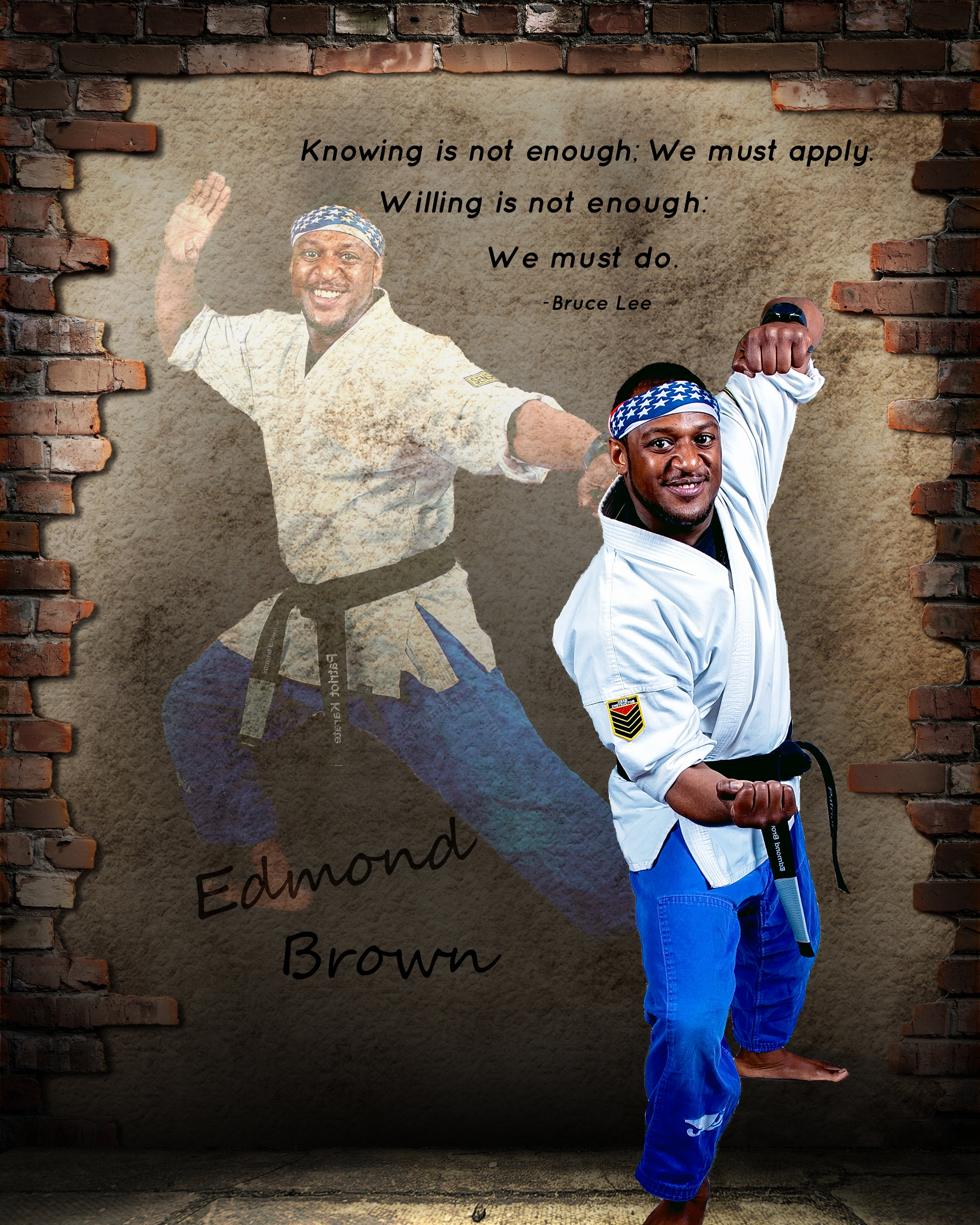 Mr. Edmond Brown...    Mr. Edmond A.Brown Jr. started his Martial Arts journey in the summer of 2002. Ever since he was a young man, he always knew that Martial Arts was a career driven path.He has been training for several years and is now a 5th Degree Black Belt in American Karate. He is also currently a blue belt in Brazilian Jiu Jitsu with hopes of earning his black belt in that Martial Art as well. He cares a lot about his students, parents, and staff. He hopes to create not only a karate school, but a Martial Art facility that caters to all people from different walks of life and help them reach a goal of becoming a black belt leader.