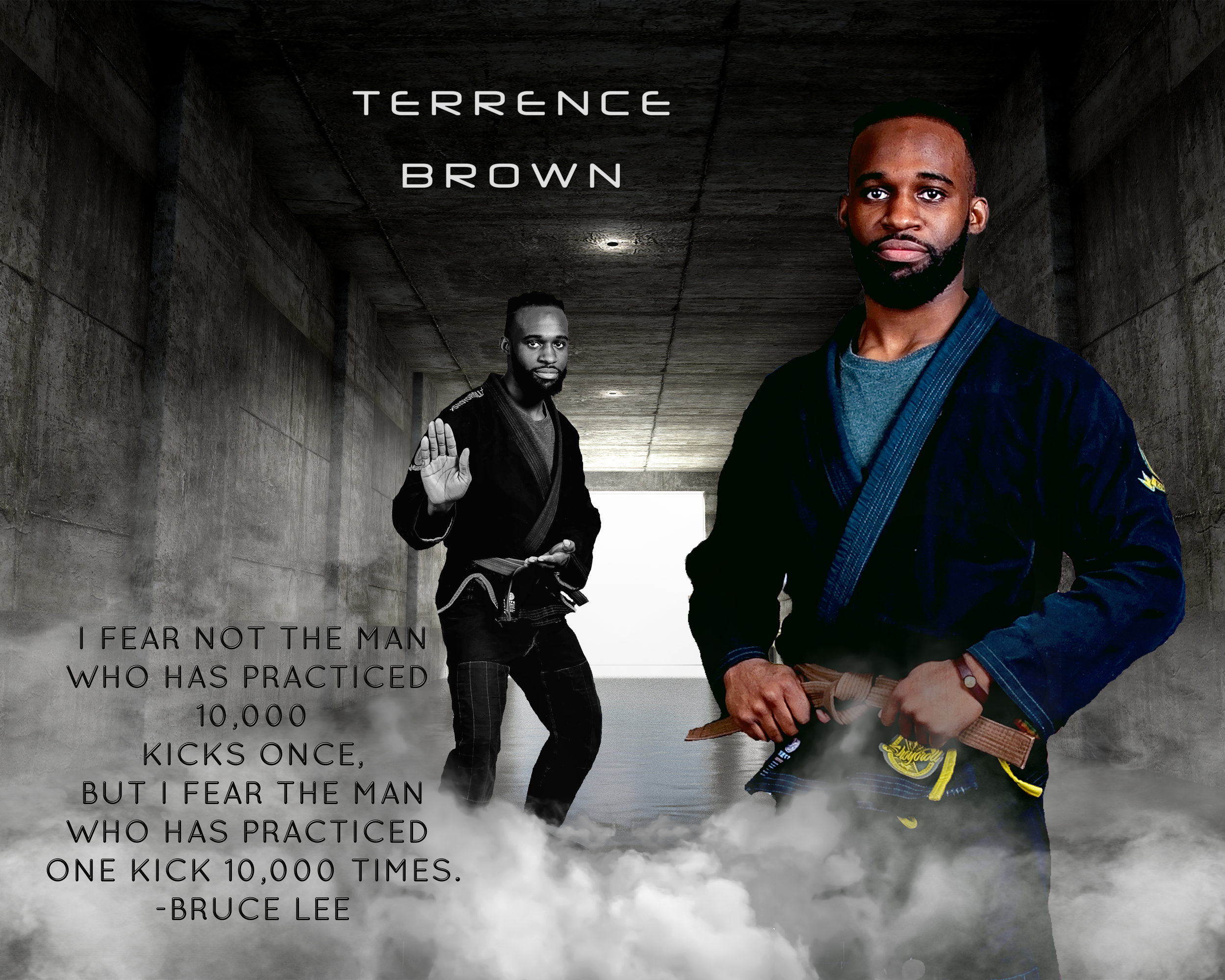 Mr. Terrence Brown...   Mr. T,  as we know him,  holds a Brown Belt in Kenpo Karate and is working towards his First Degree Black Belt.  Terrence is also a practitioner of Brazilian Jiu-Jitsu where he holds a blue belt.  Terrence is currently a student, working towards his Bachelor's Degree at Georgia Gwinnett College, majoring in Exercise Science. He ultimately plans to attend Emory University for his Masters and Doctorate in Physical Therapy, so he can own his own practice one day.