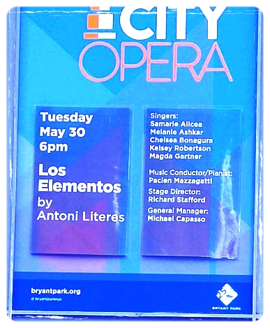 Aire in Los Elementos - NEW YORK CITY OPERABryant Park - 2017 Park SeriesMay 2017