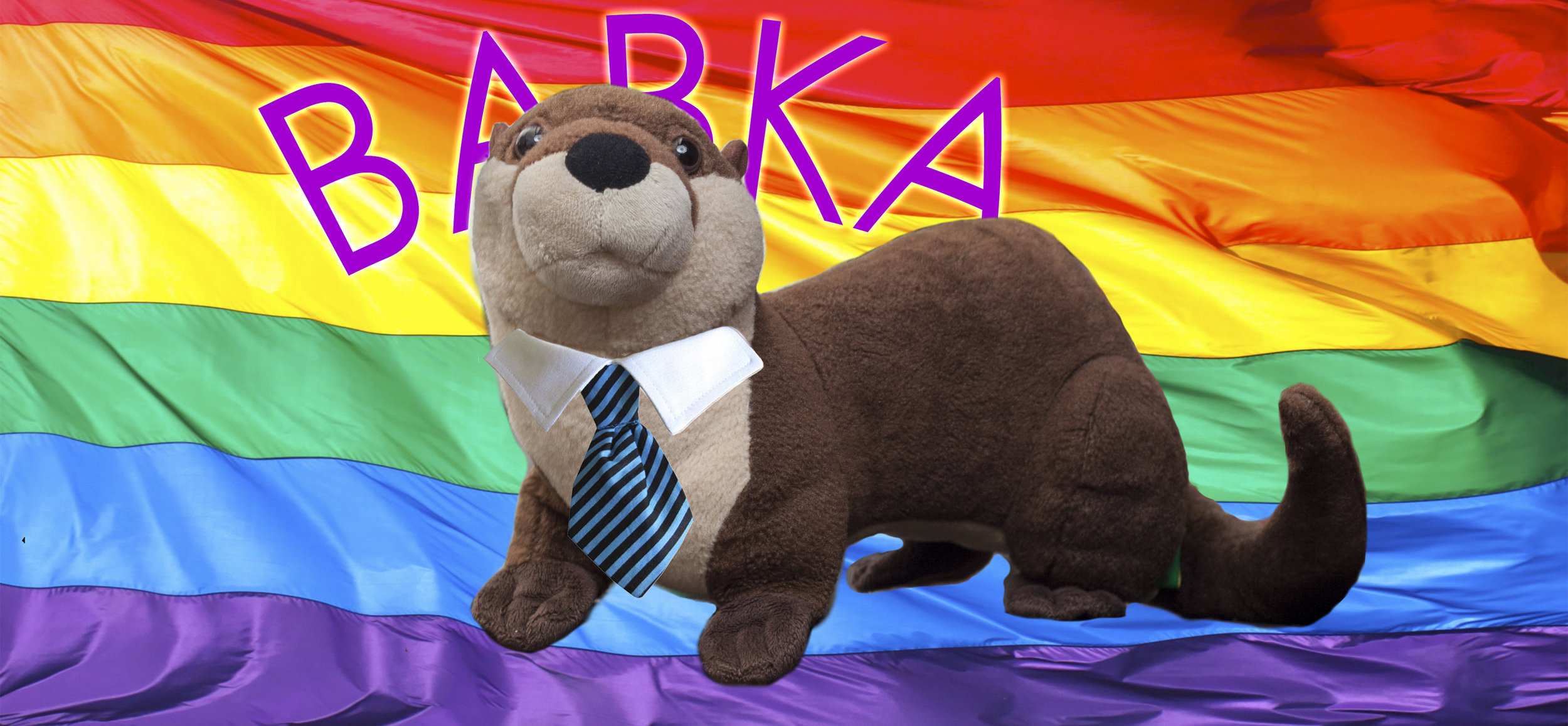 Babka the Otter looking presidential. Little tie by bowwowsbest.Rainbow flag by  Torkbakhopper .
