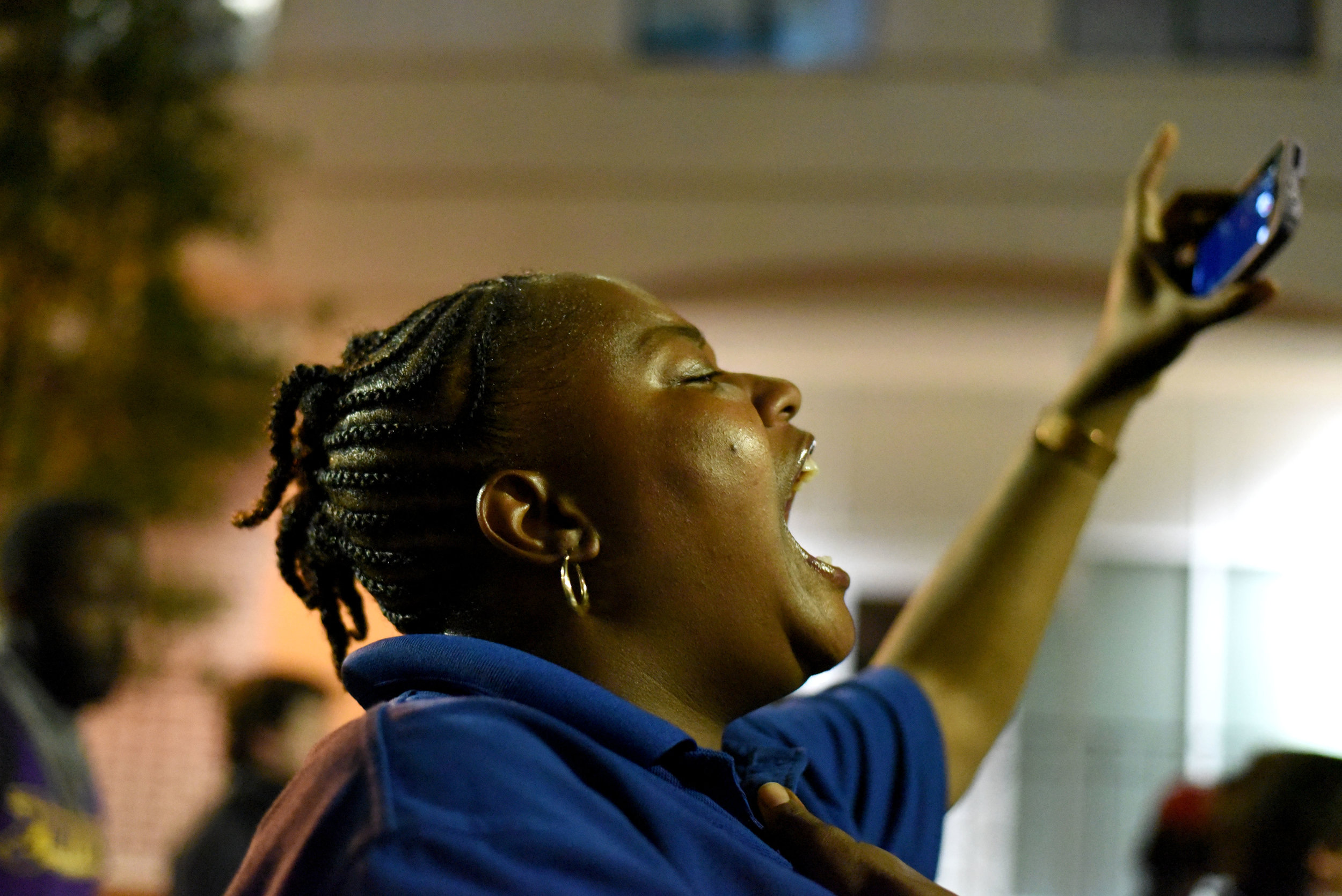 A protester shouts slogans during a protest in Charlotte, North Carolina, USA, 22 September 2016. Protesters took to the streets of Charlotte for the third consecutive night to protest the fatal 20 September shooting African-American Keith Lamont Scott by police officers.