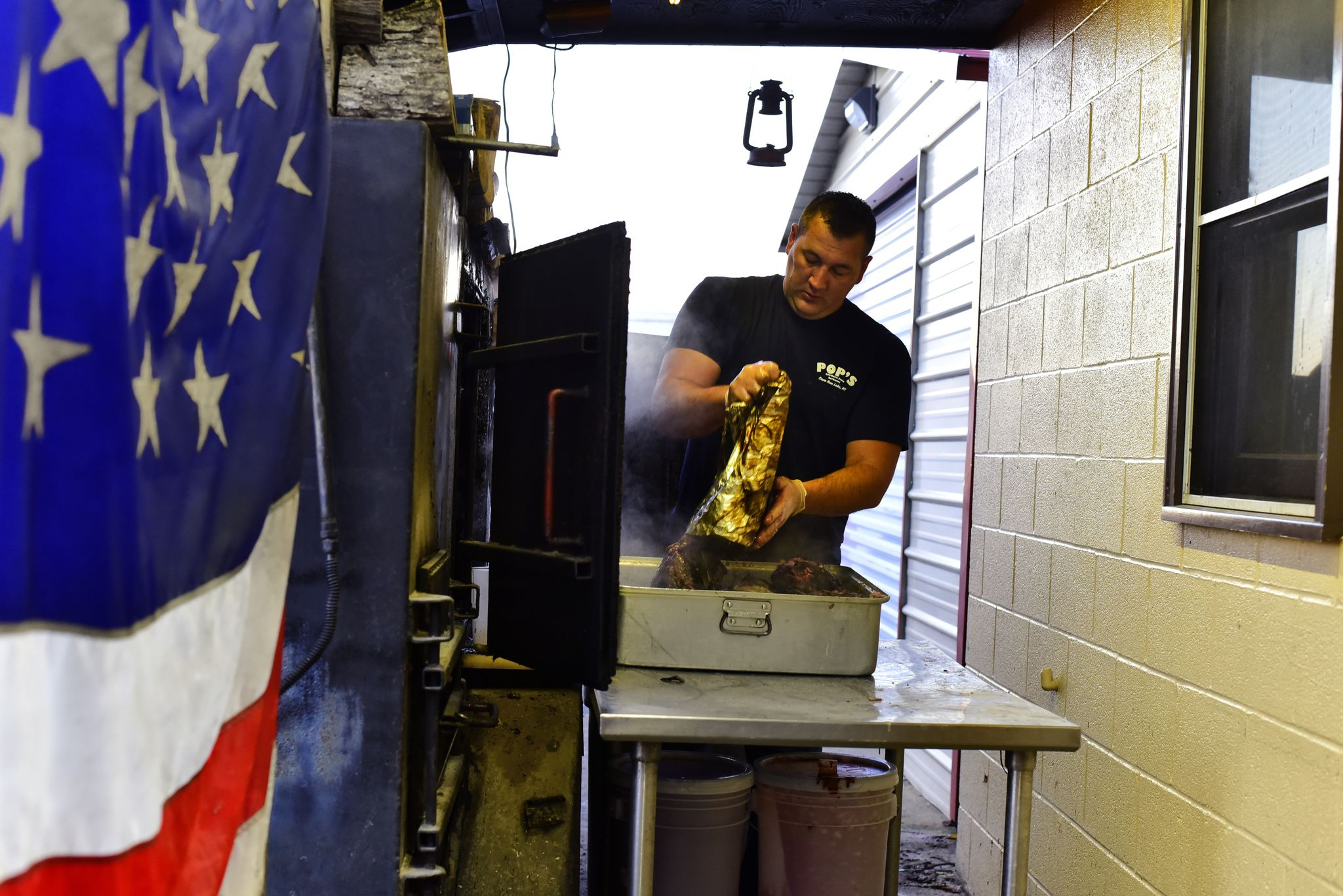 Pop's owner, Adam Ferguson opened eight years ago. Locals didn't think his business idea would work, but Adam has made an impact on the community in Morehead. The smoker runs around the clock. Some meat is wrapped in foil, others are laid on the open grill, as they are smoked for up to 22 hours at a time. Adam uses this method to keep the smokey flavor in his meats.