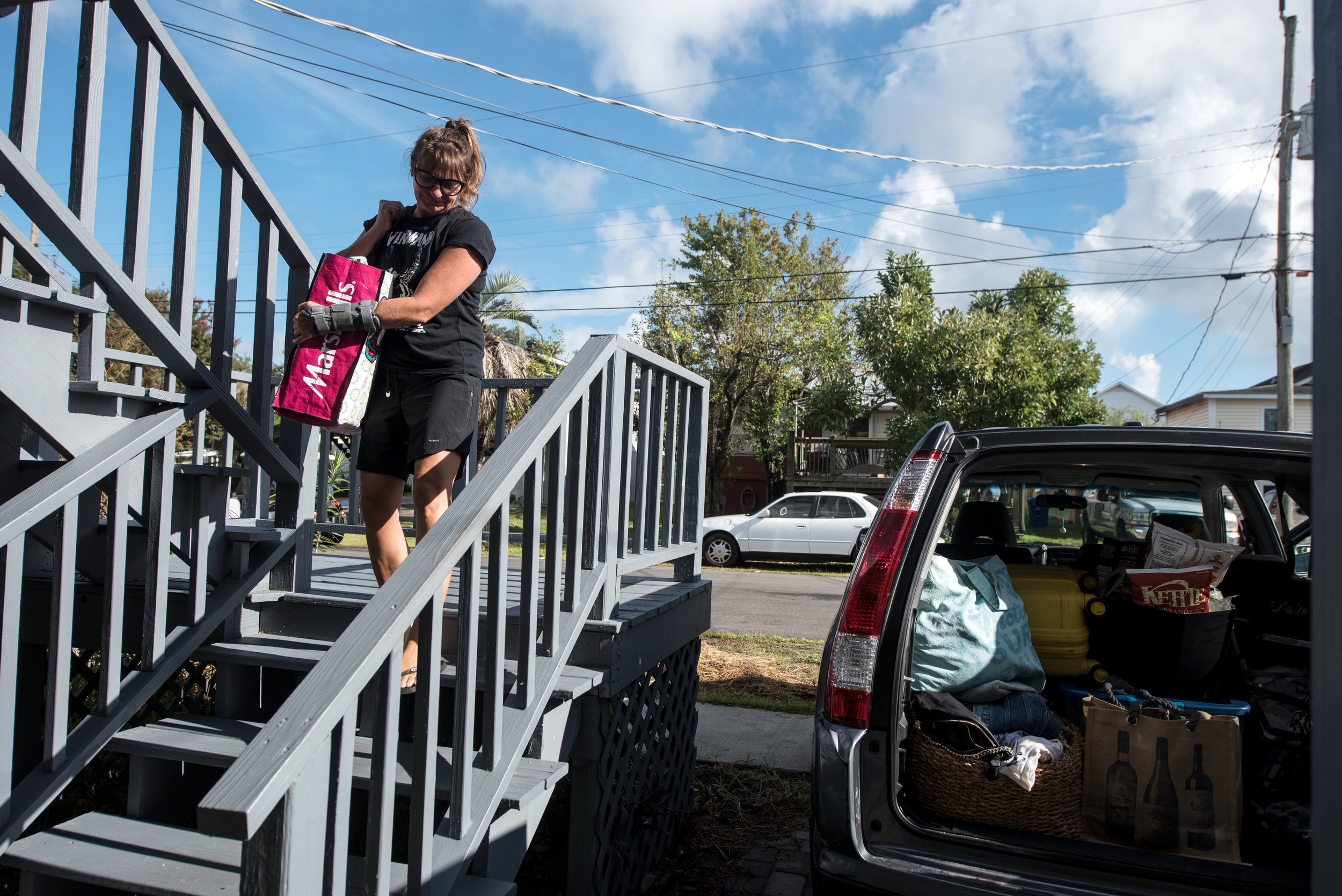 Jamie Moore, a homeowner, evacuate's ahead of the forecasted landfall of Hurricane Florence in Carolina Beach, North Carolina, USA, 12 September 2018.