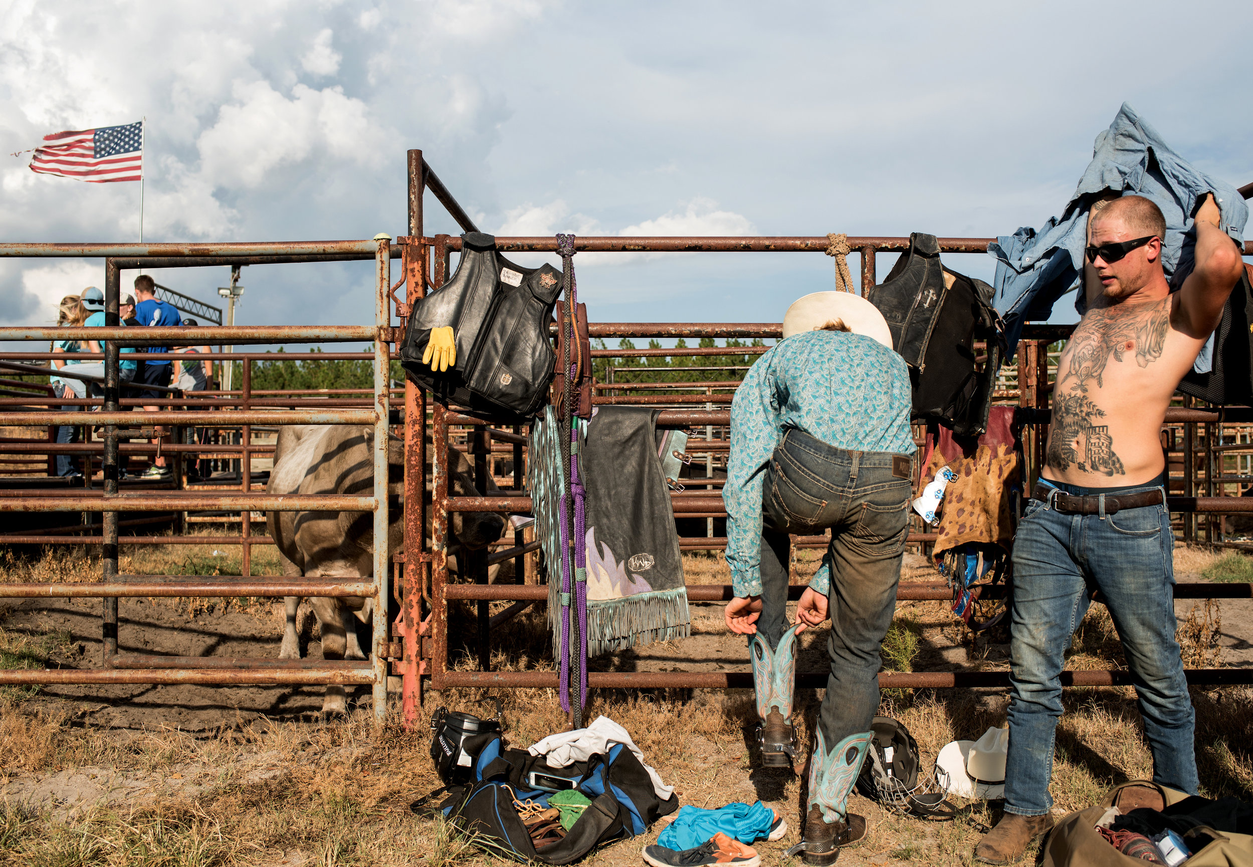 Amateur bull rider's gear up before they compete at Shady Acres Farm in Hope Mills, North Carolina.