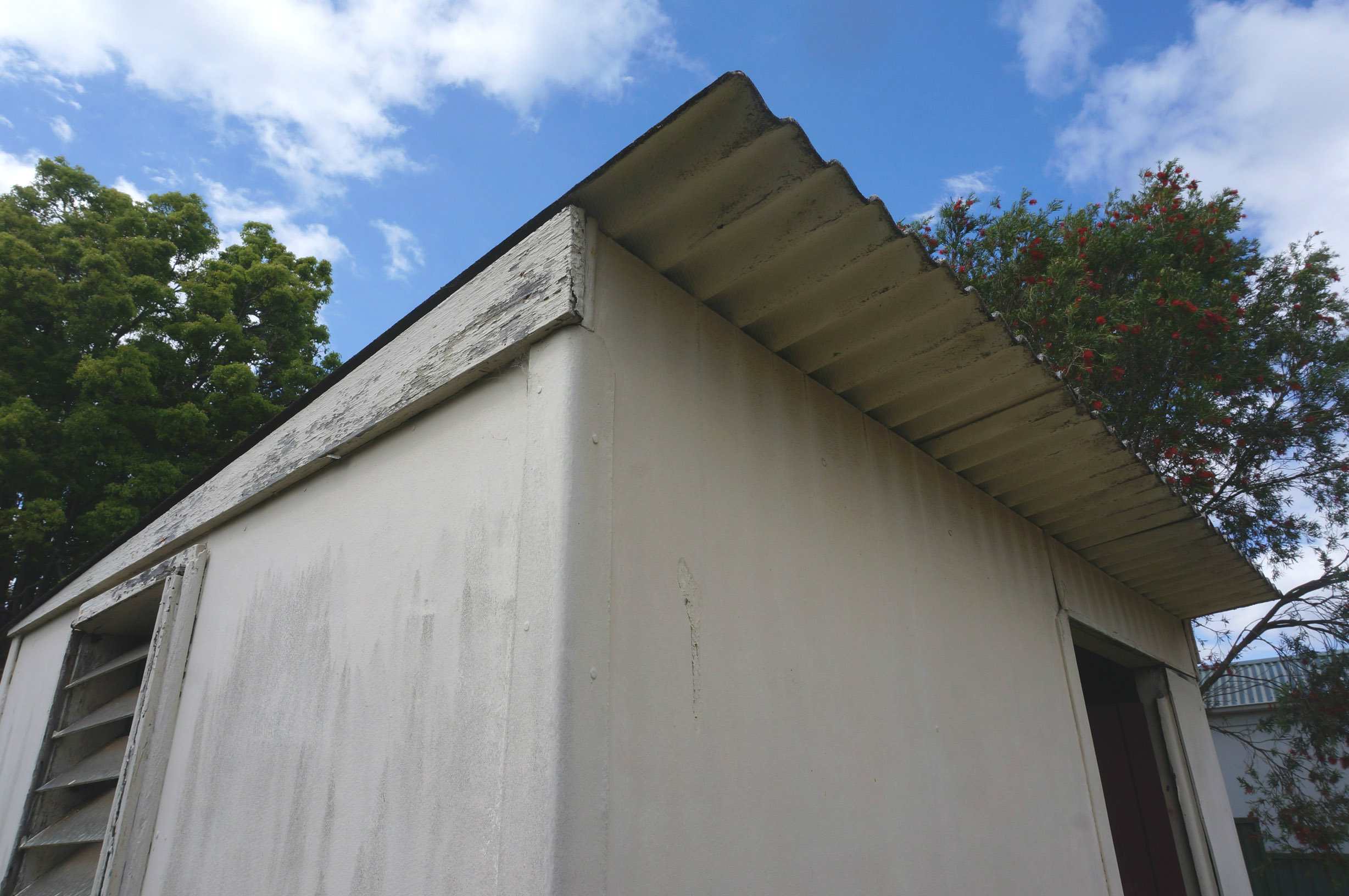 Old sheds like this often have roofs made out of 'Super Six', a product that contains asbestos.