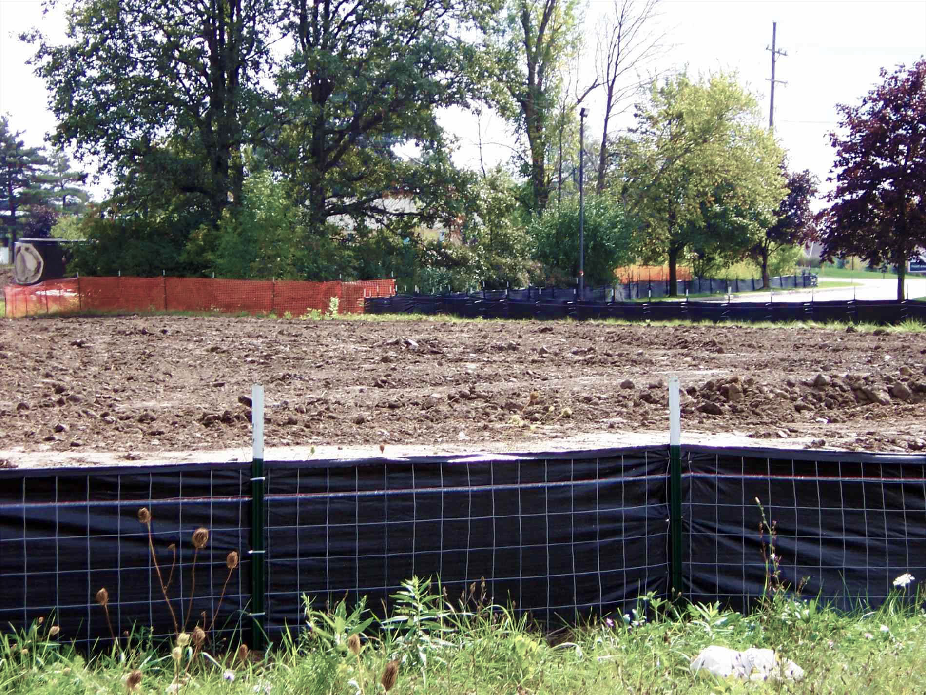 An example of sediment control fencing