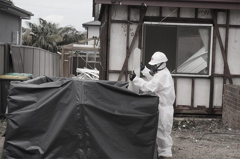 Asbestos removal in progress.