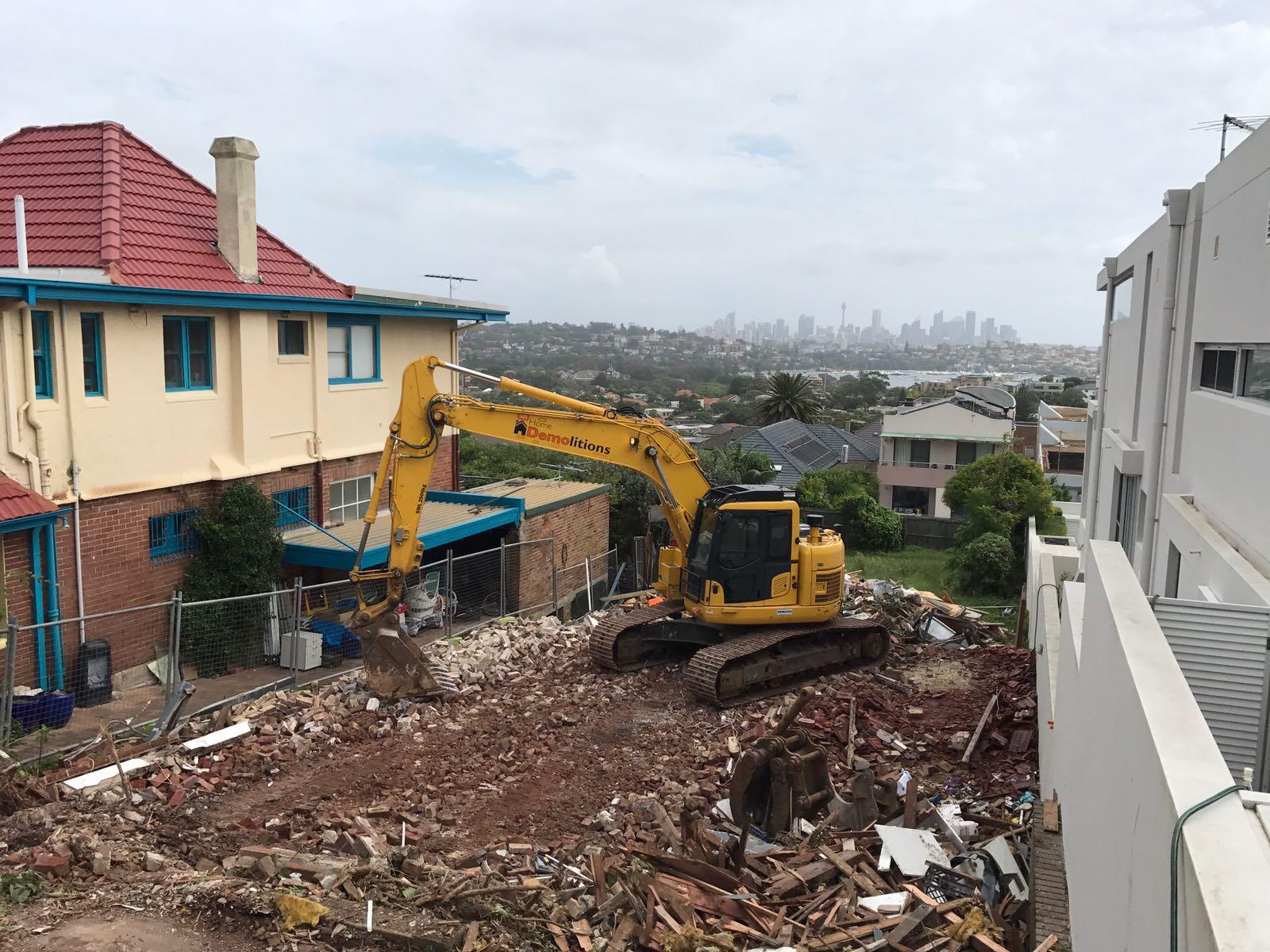 Demolition in progress at Sydney's Dover Point.