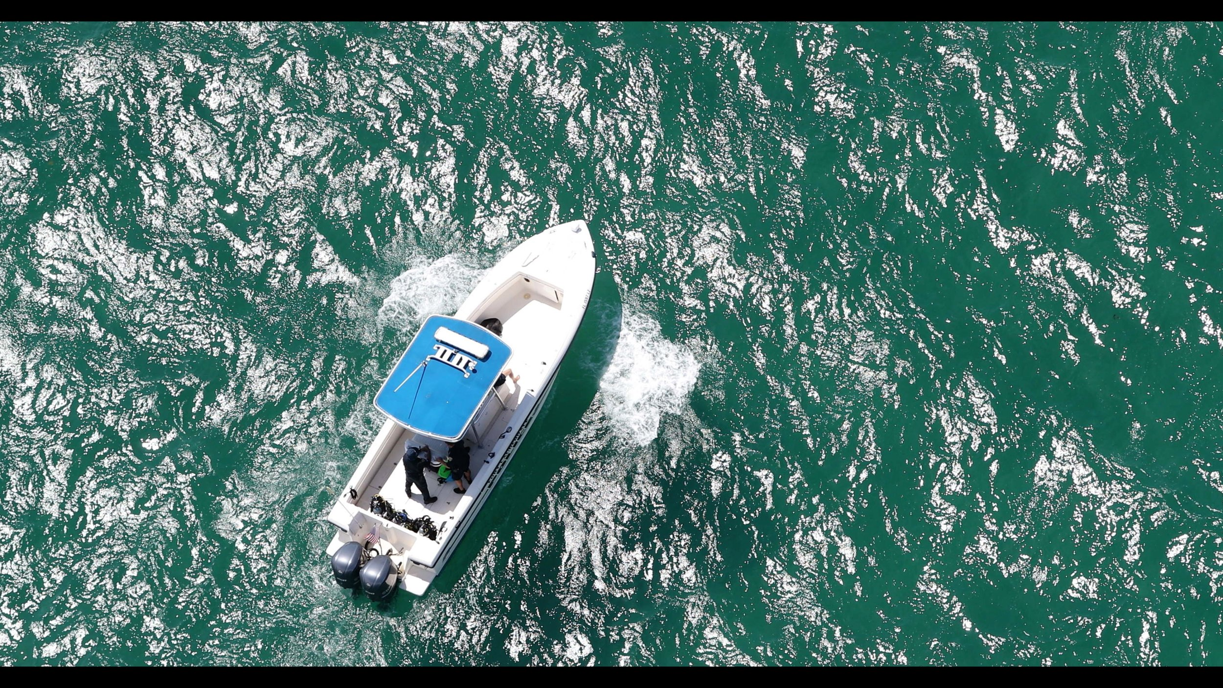 Patrol Boat offshore during Fort Lauderdale, FL Airshow. Shot from R44 Heli.