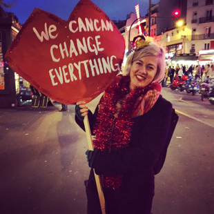 We CanCan  action at the Moulin Rouge, Paris, France during the COP21 climate negotiations 2015  (photo by Kim Bryan)