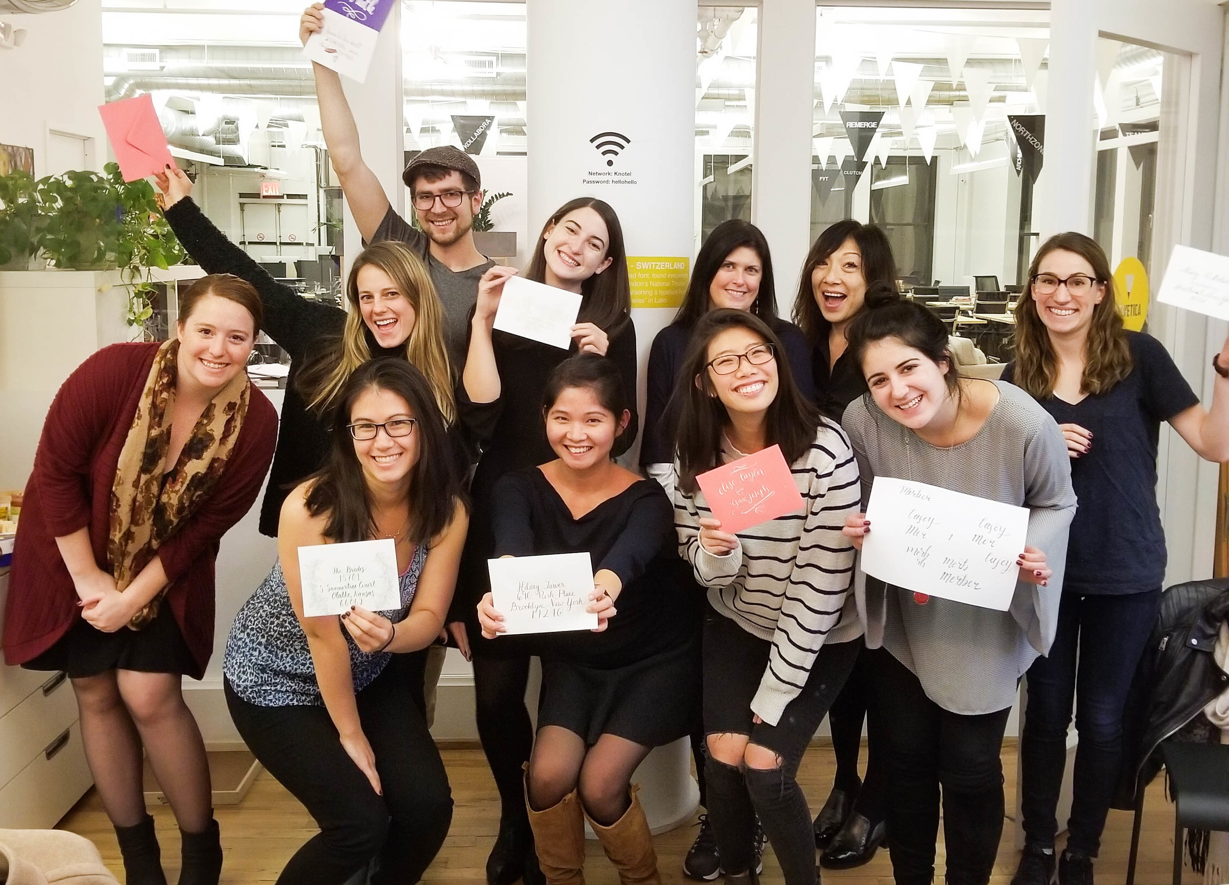 Corporate Workshop - Learning Calligraphy is the ultimate team-building activity! Your team will learn new skills and discover the meditative powers of practicing penmanship together. Final project options include name cards (great for desk decorations!), inspirational sayings, and embossed notecards.