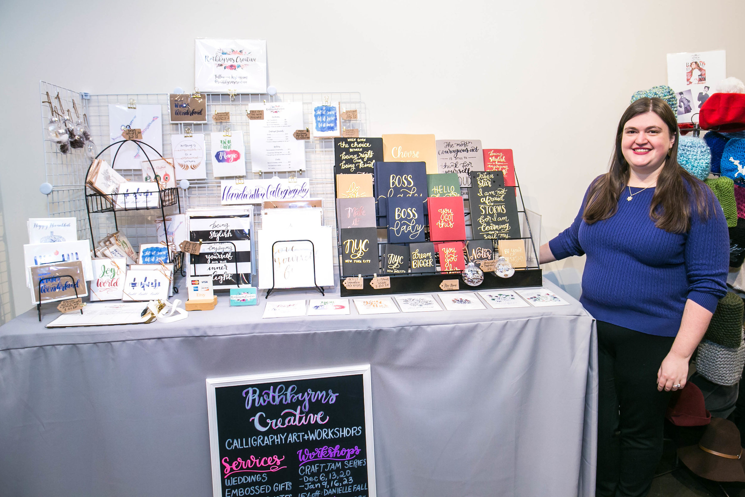 Pop Up Shop - I've participated in pop up sale events with Chelsea Market, West Elm, the Grand Bazaar, the New York Handmade Collective, and the Hudson Co-Op. I'd love to offer my one-of-a-kind handwritten journals and calligraphy prints to your customers!
