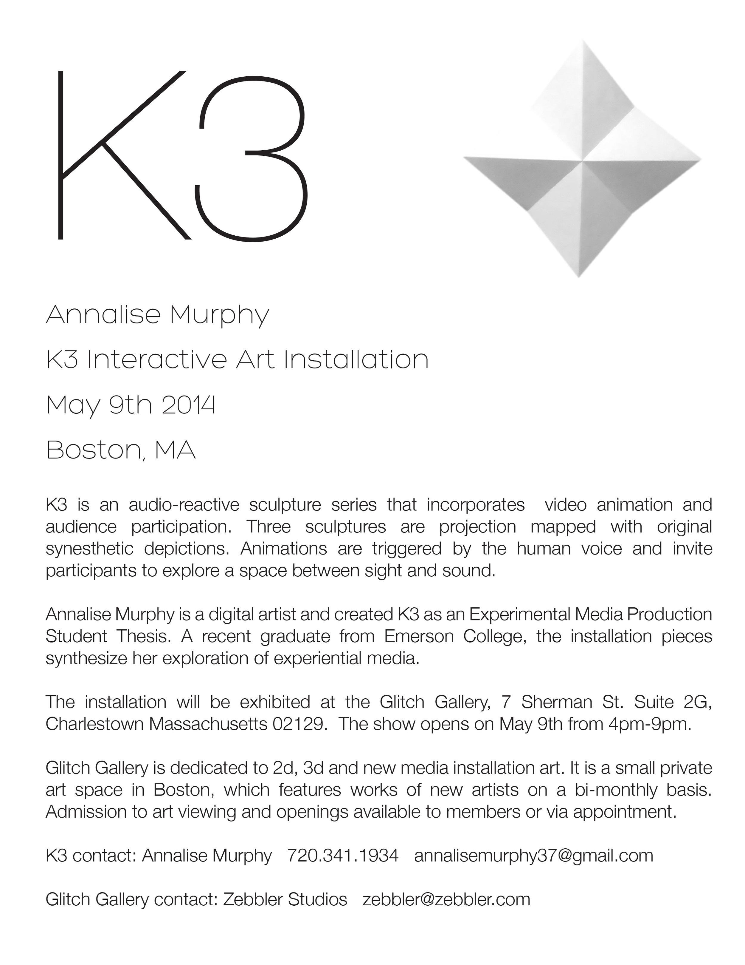 Annalise Murphy K3 installation