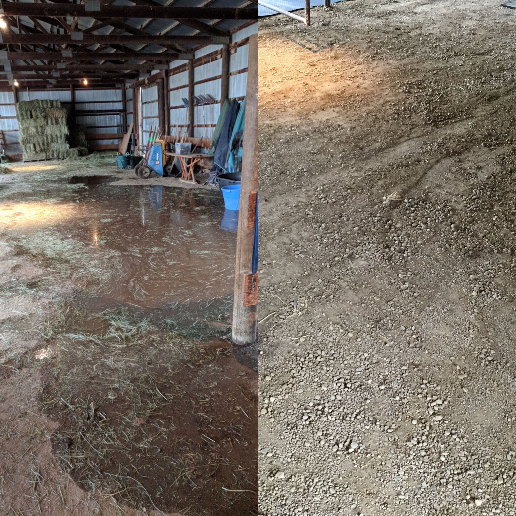 Before and after picture of the main barn. Water used to come into the barn every time it rained. The second picture was taken after a large rainstorm, and the ground stayed dry!