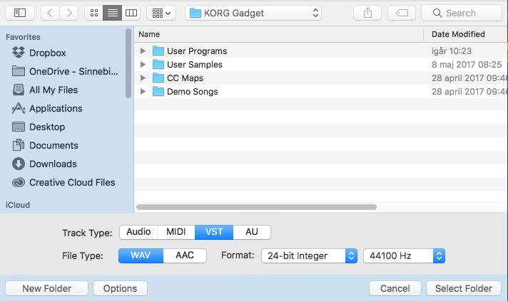 Vid export till Ableton Live-format väljer man själv om AU- eller VST-versioner ska användas.