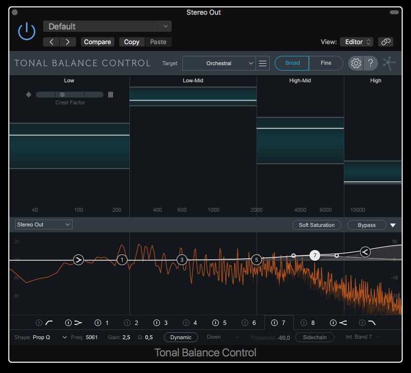 Här kan vi i Tonal Balance Control se att vi borde höja det här ljudspåret i det högsta registret.