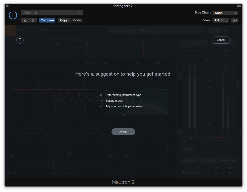 … och Track Assistant föreslår en inställning.