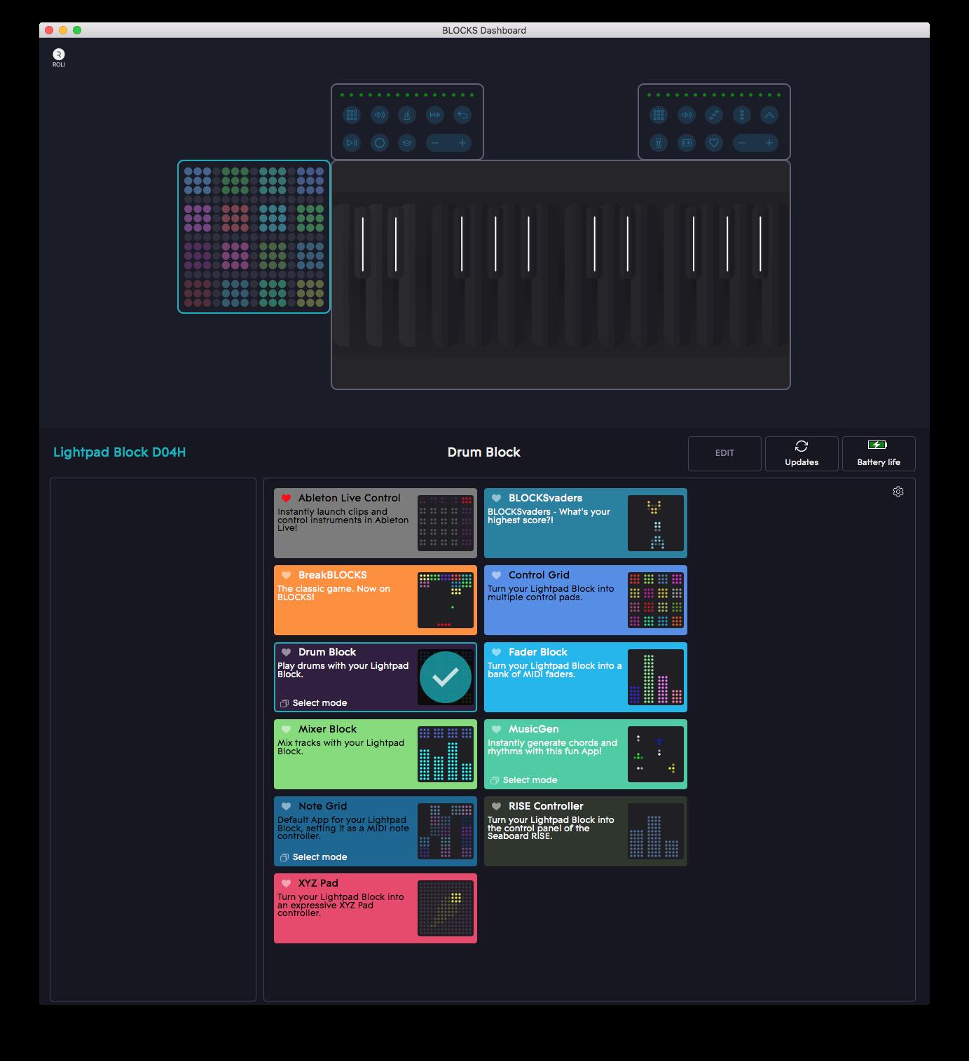 Med hjälp av kontrollappen Blocks Dashboard laddas enkelt olika inställningar till modulerna. Här gör du också enkelt egna anpassningar och påfund.