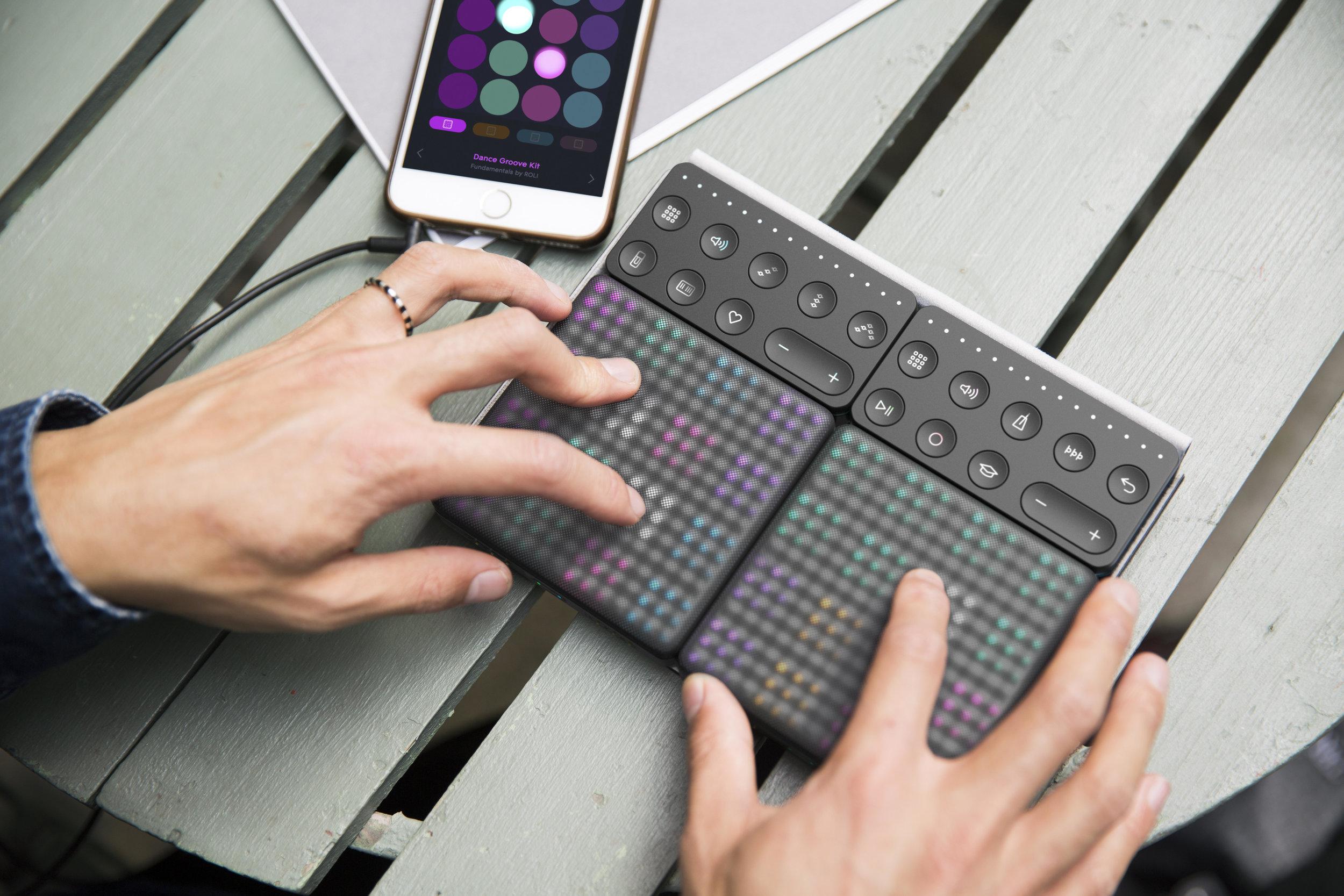 Roli Blocks funkar, inte oväntat, klockrent med Rolis egna app Noise.
