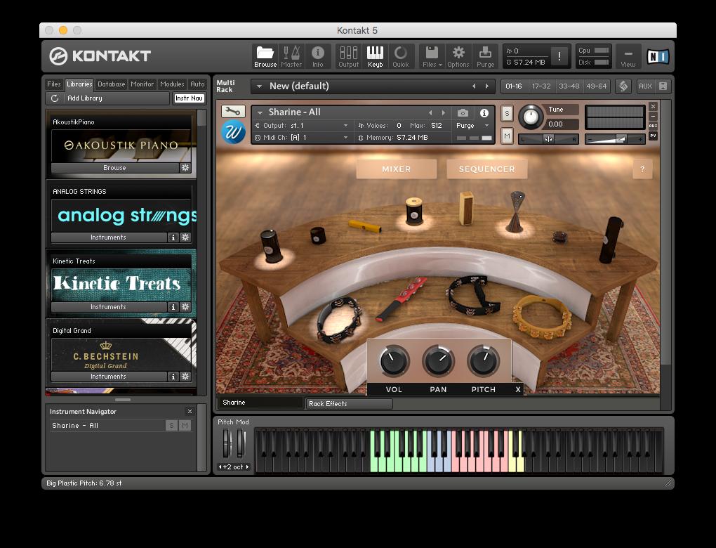 Du klickar på ett instrument för att de ska spelas; om du alt-klickar visas ytterligare en mixerfunktion.
