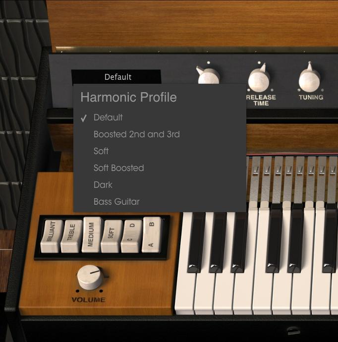 Clavinet V erbjuder 6 olika karaktärer i form av Harmonic Profiles.