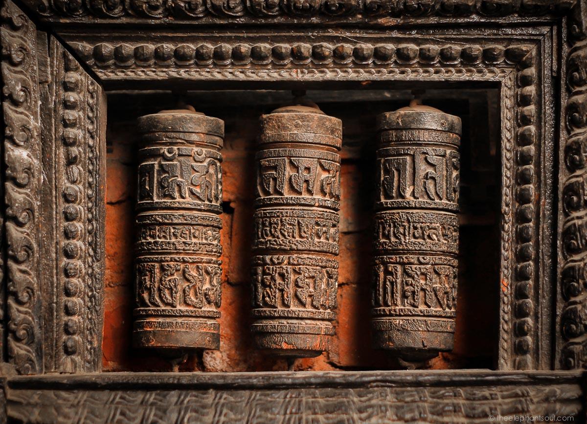 Rustic Prayer Wheels - Kathmandu, Nepal