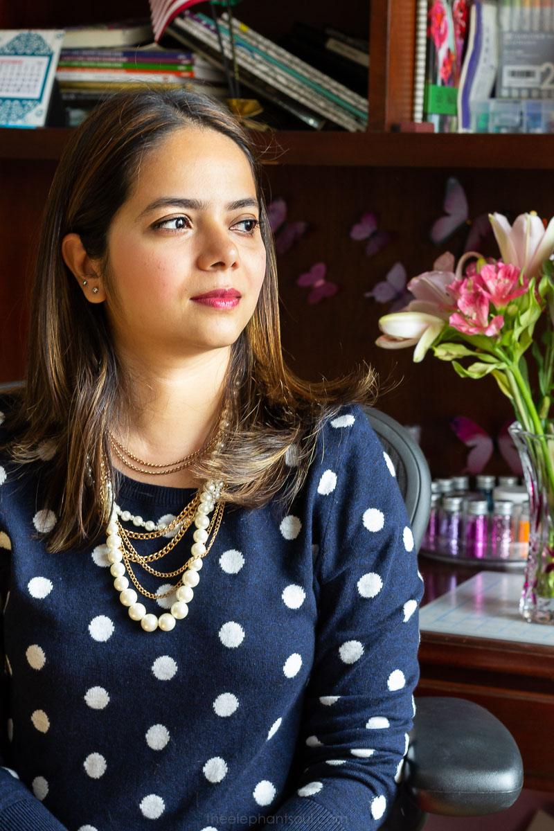 Nausheen shares her story at her studio in Amman, Jordan.